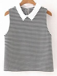 Black White Stripe Poplin Lapel Sleeveless Blouse