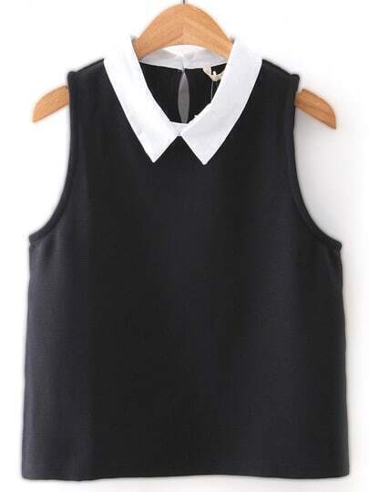 Black Keyhole Back Poplin Contrast Lapel Sleeveless Blouse