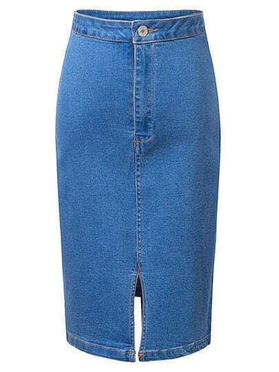 Blue High Waist Split Front Denim Pencil Skirt pictures
