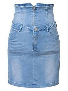 Blue Pockets High Waist Zipper Front Denim Skirt