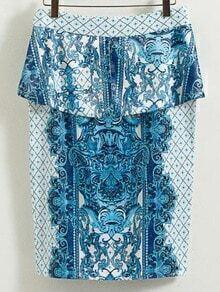 Blue And White Porcelain Peplum Print Pencil Skirt