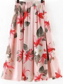 Pink Elastic Waist Flowers Print Flare Skirt