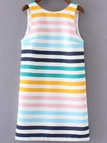 Multicolor Stripe Zipper Backless Sleeveless Dress