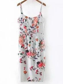 Multicolor Floral Print Spaghetti Strap Dress