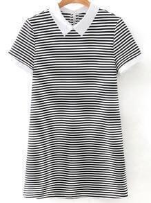 Black White Stripe Contrast Collar Short Sleeve Dress
