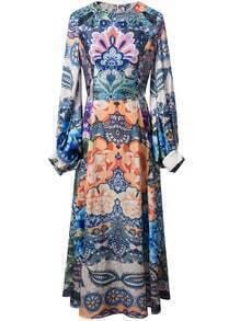 Multicolor Lantern Sleeve Zipper Back Flowers Print Maxi Dress