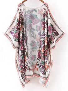 Multicolor Half Sleeve Print Cardigan Kimono