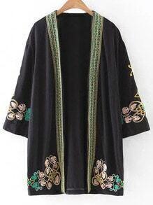 Black Cardigan Embroidery Kimono