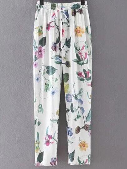 Multicolor Pockets Tie-Waist Bow Flowers Print Pants