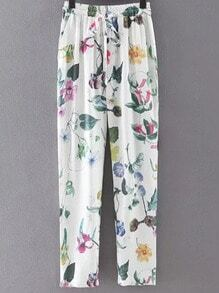 Multicolor Pockets Tie-Waist Bow Flowers Print Pants