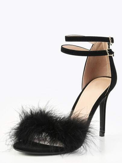 Single Sole Feather High Heels BLACK