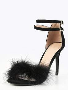 Sandalias pluma tacón de aguja - negro