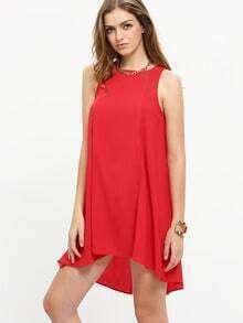 Red Sleeveless Dip Hem Shift Dress