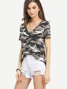 Multicolor Short Sleeve V Neck T-shirt