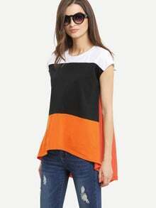 Multicolor Patchwork Cap Sleeve Dip Hem T-shirt