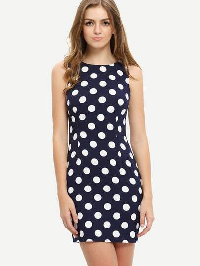 Royal Blue Sleeveless Polka Dot Bodycon Dress