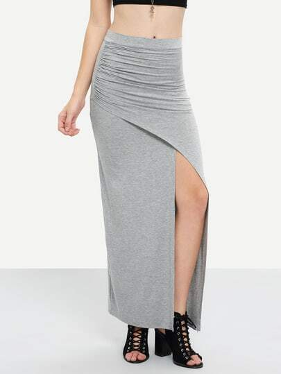 Grey Split Pleated Maxi Skirt