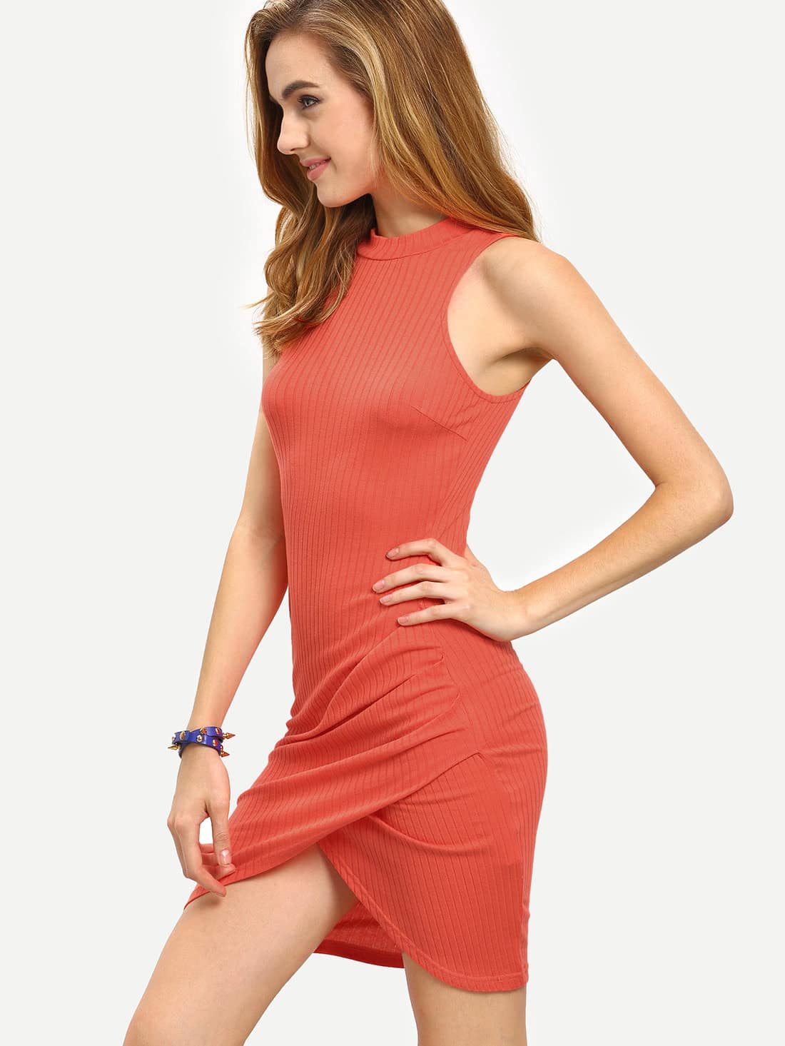 Red Crew Neck Sleeveless Ribbed Wrap Dress dress160512722