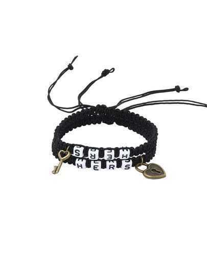 Key & Lock Charm Beaded Braided Bracelet - Black