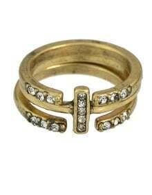 Rhinestone Metal Cuff Rings Set