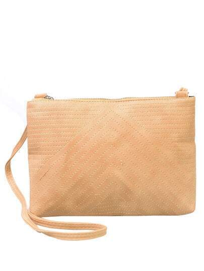 Faux Leather Chevron Topstitch Shoulder Bag - Apricot