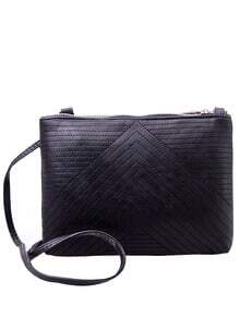 Faux Leather Chevron Topstitch Shoulder Bag - Black