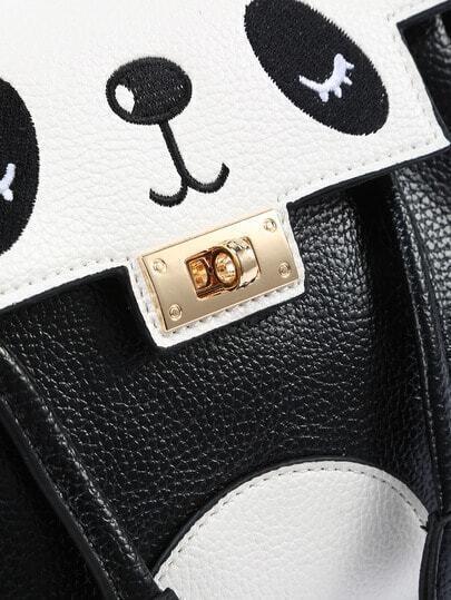 umh ngetasche aus kunstleder mit panda muster und drehverschluss german shein sheinside. Black Bedroom Furniture Sets. Home Design Ideas