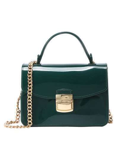 Push Lock Rubber Bag With Chain - Green