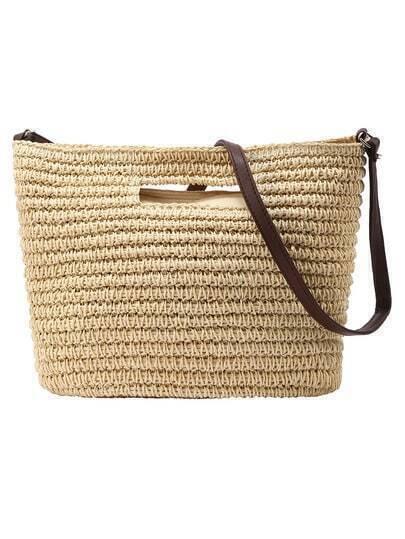 Бежевая соломенная сумка