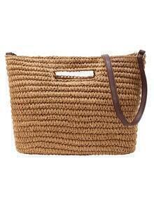 Contrast Strap Straw Tote Bag - Brown