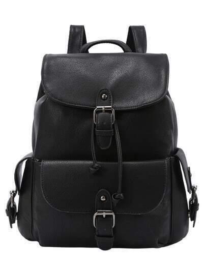 Buckled Flap Drawstring Backpack - Black