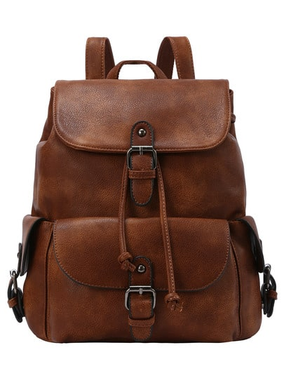 Buckled Flap Drawstring Backpack - Brown