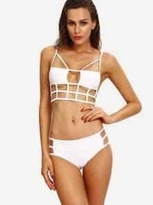 White Caged Bikini Set