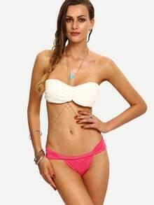 Contrast Embossed Bandeau Bikini Set