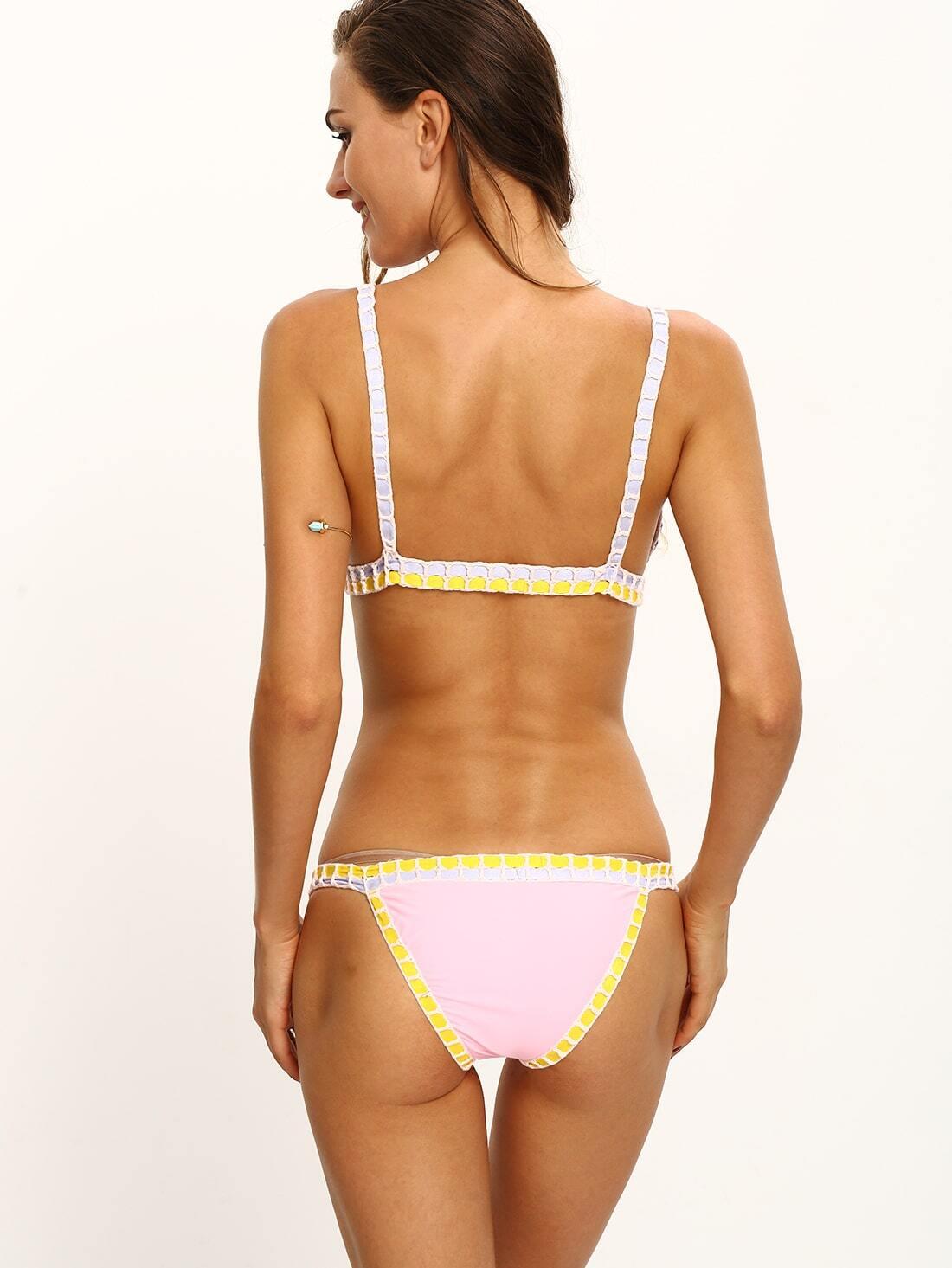 Color Block Braided Trim Bikini Set Shein Sheinside