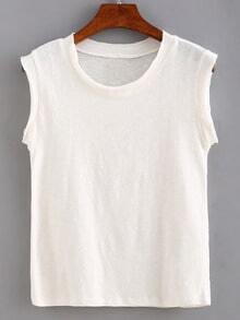 White Round Neck Tank Top