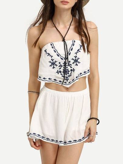 Strapless Embroidered Top With Elastic Waist Shorts