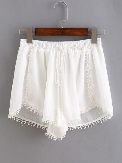 Tassel Tie Crochet Trim Tulip Hem Shorts