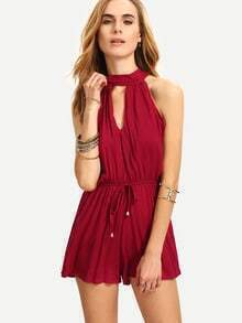 Burgandy Halter Cut Out With Drawstring Romper