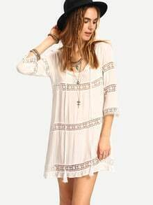 White Hollow Out Lace Up Dress