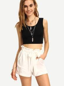 White High Waist Shorts With Belt