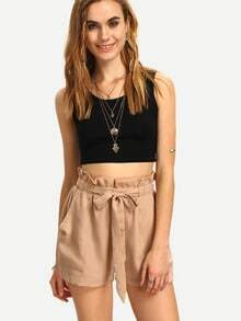 Khaki High Waist Shorts With Belt