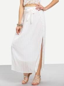 Elastic Waist Vertical Striped Split Skirt With Belt