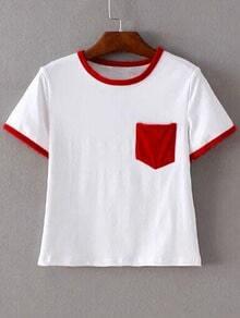 Red Trim & Pocket White Crop T-shirt