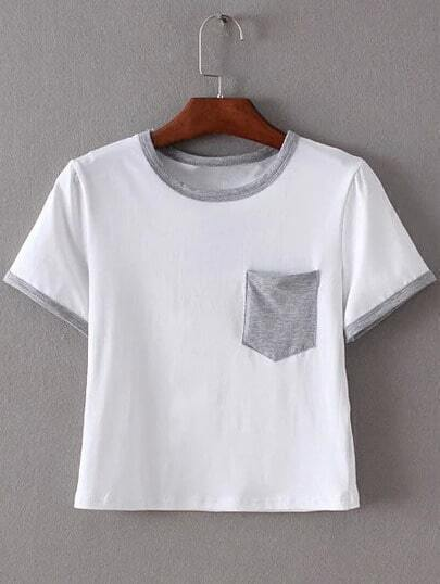 Grey Trim & Pocket White Crop T-shirt