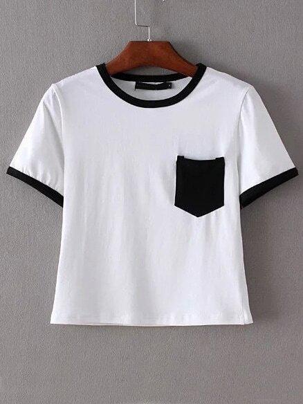 Black Trim & Pocket White Crop T-shirt -SheIn(Sheinside)