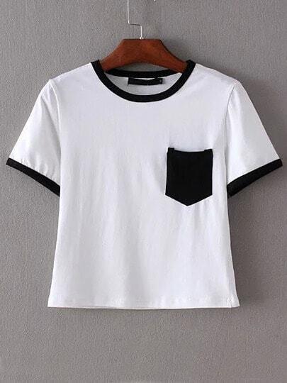 Black Trim & Pocket White Crop T-shirt