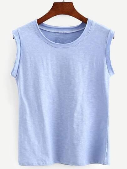 Raw Hem Blue Slub Sleeveless T-shirt