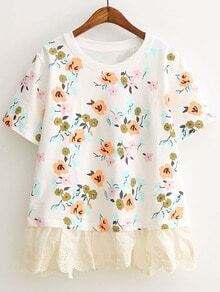 White Short Sleeve Lace Hem Flowers Print T-shirt