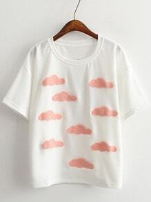 White Short Sleeve Clouds Casual T-shirt